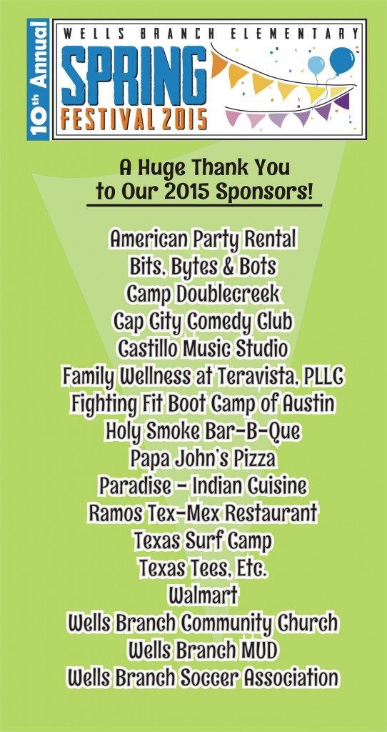 Spring Fest 2015 Sponsors Thank You