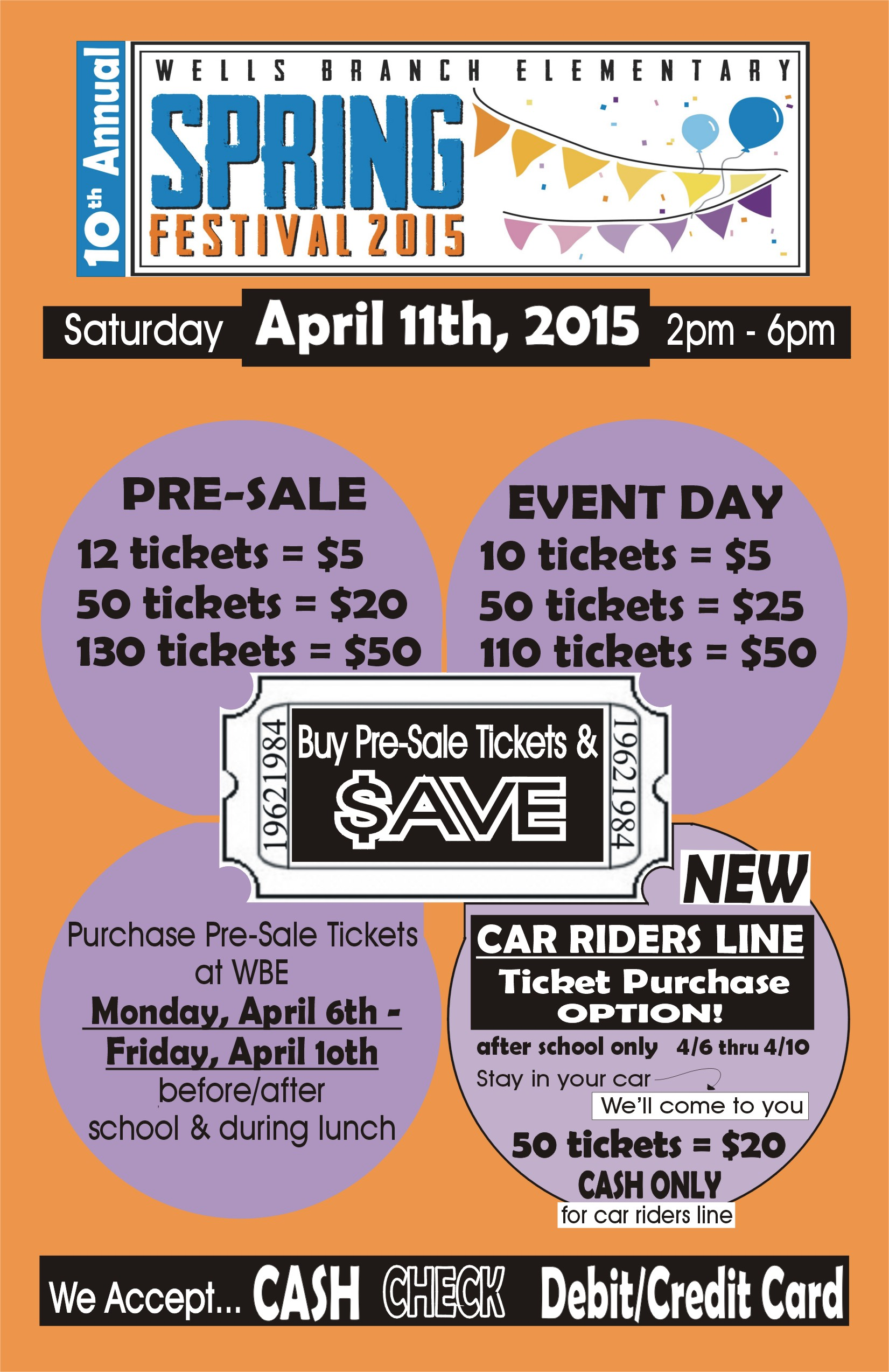 Spring Fest ticket pre-sale next week – buy early and SAVE